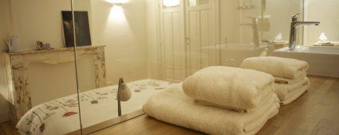 Chambre 2 à la Maison d'hôtes à Bruxelles, salle de bain et toilette privée avec ascenseur et climatisation